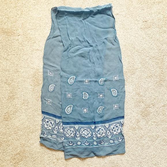 "Vintage Accessories - Vintage light blue chiffon paisley ""bandana"" scarf"